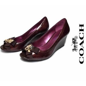 Coach Poppy Jade wedges patent leather size 8.5B